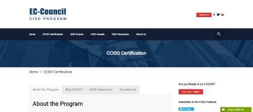 EC-Council Certified CISO (CCISO) Program