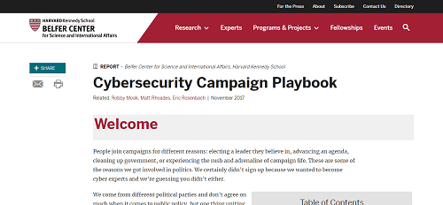Harvard University's Belfer Center Cybersecurity Campaign Playbook