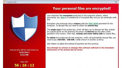CryptoLocker ransom screen