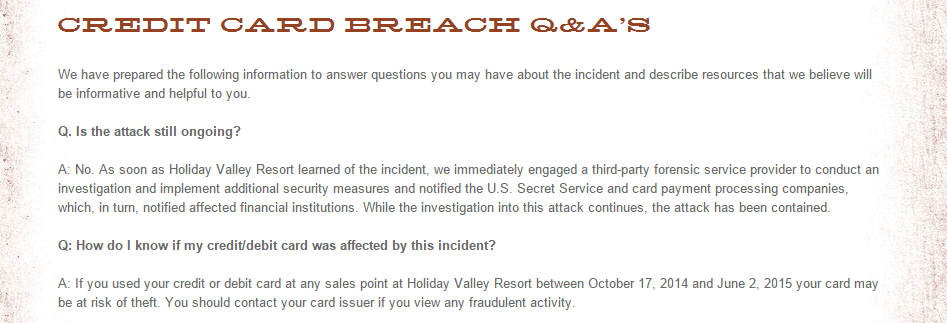 Holiday Valley Resorts Credit Card Breach FAQ