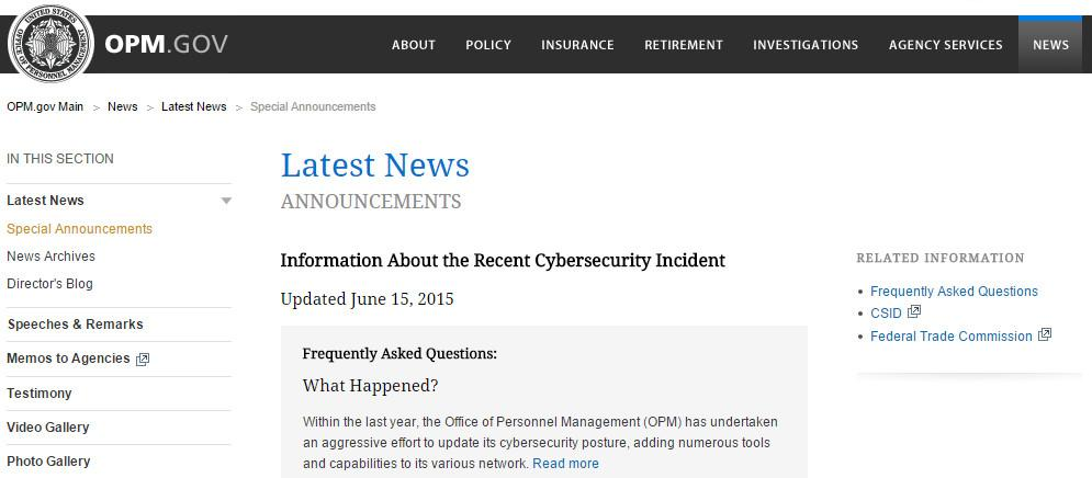 OPM Data Breach Announcement
